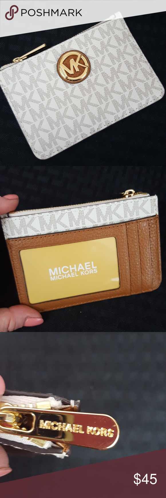 077bb6bf52ad49 MICHAEL KORS WALLET COIN POUCH NWT Leather vanilla and acorn Sm TZ Coin  POUCH with ID