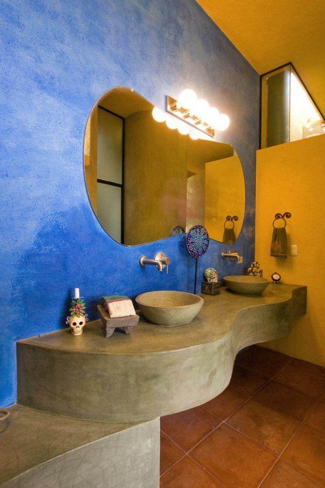 superior wandgestaltung badezimmer farbe #1: bathroom sink Wandgestaltung mit Farben im Badezimmer-Gold und Blau-feiner  Putz-effekt