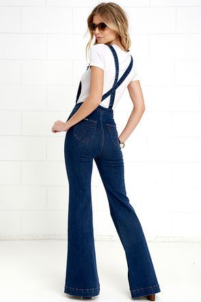 94f795c3049 Rollas Eastcoast Dark Wash High-Waisted Denim Flare Overalls at Lulus.com!