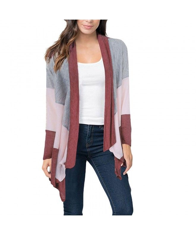 0d86ac6d0a Women s Casual Color Block Open Front Long Sleeve Knit Cardigans - Wine Red  - C5187SS2972