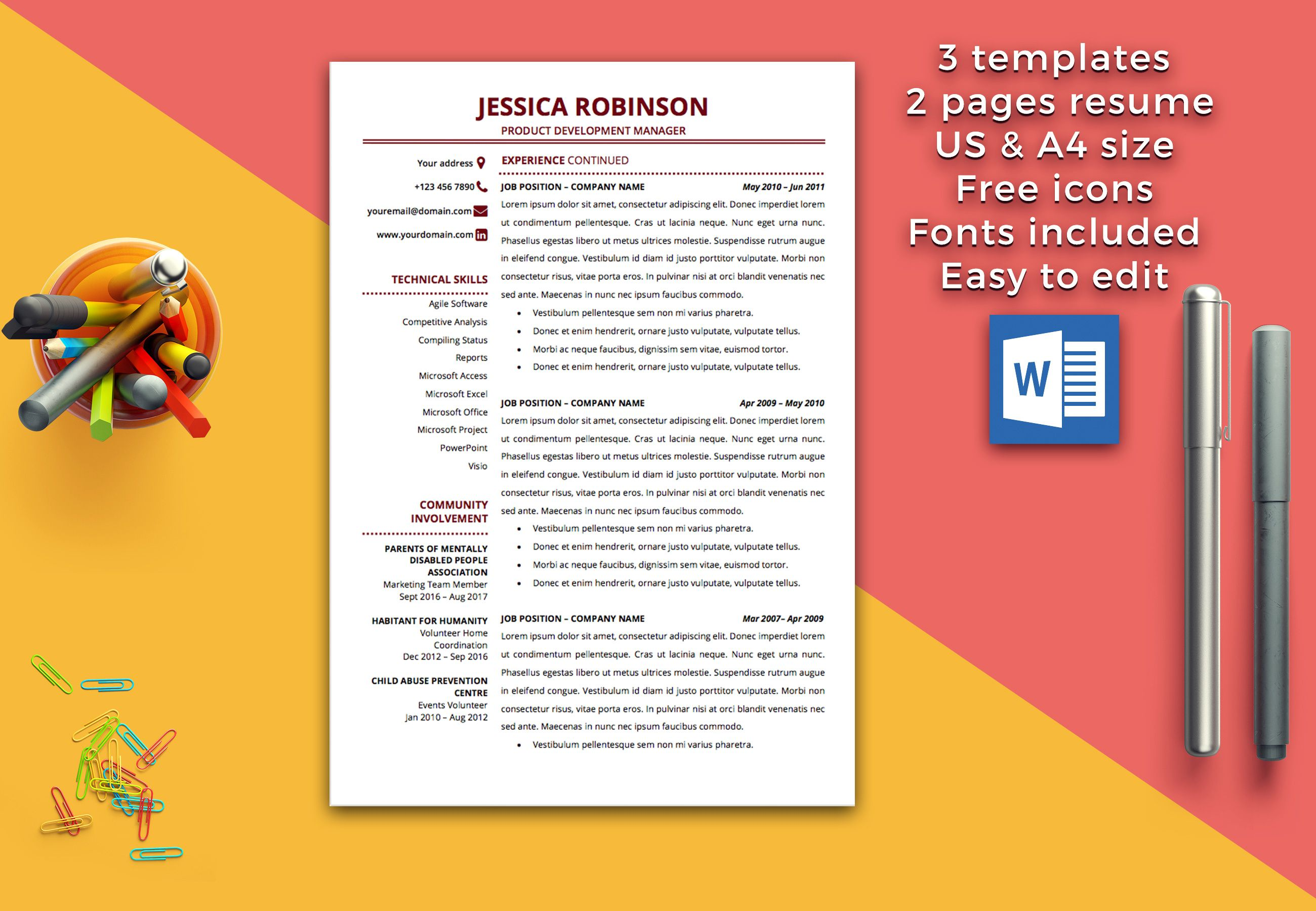 Resume Template Instant Download / 1 & 2 Pages / Cover Letter ...