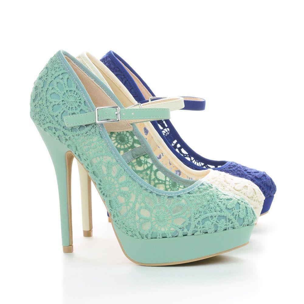 Sonny408 Mary Jane Crochet Platform Stiletto Heel Dress Pumps ...