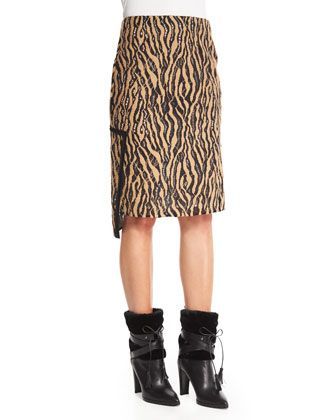 Broken Line Tiger Lace Pencil Skirt, Camel/Black by 3.1 Phillip Lim at Bergdorf Goodman.