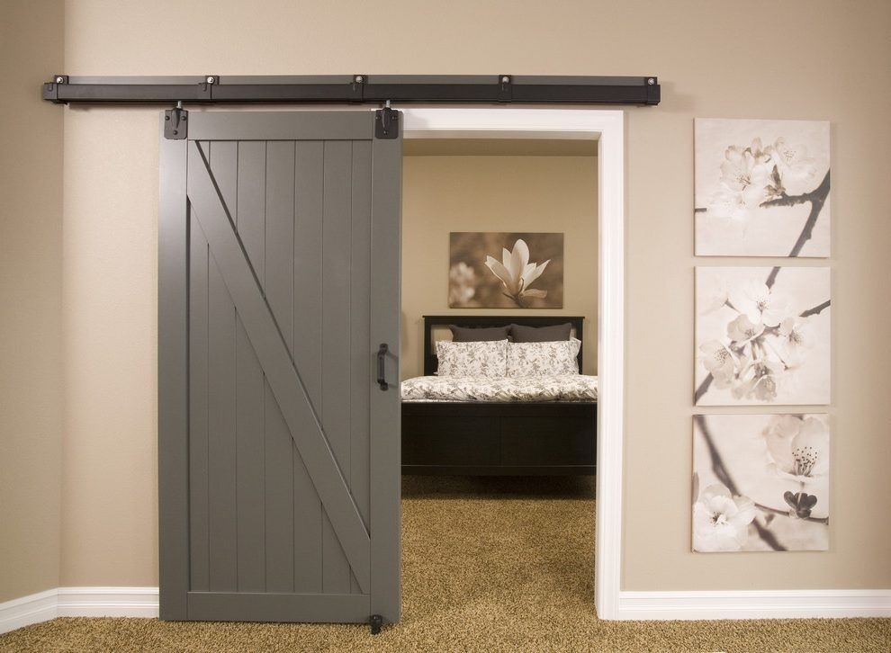 Wonderful Contemporary Barn Door Hardware Basement Contemporary With Wall Decor Beige  Carpet White Trim
