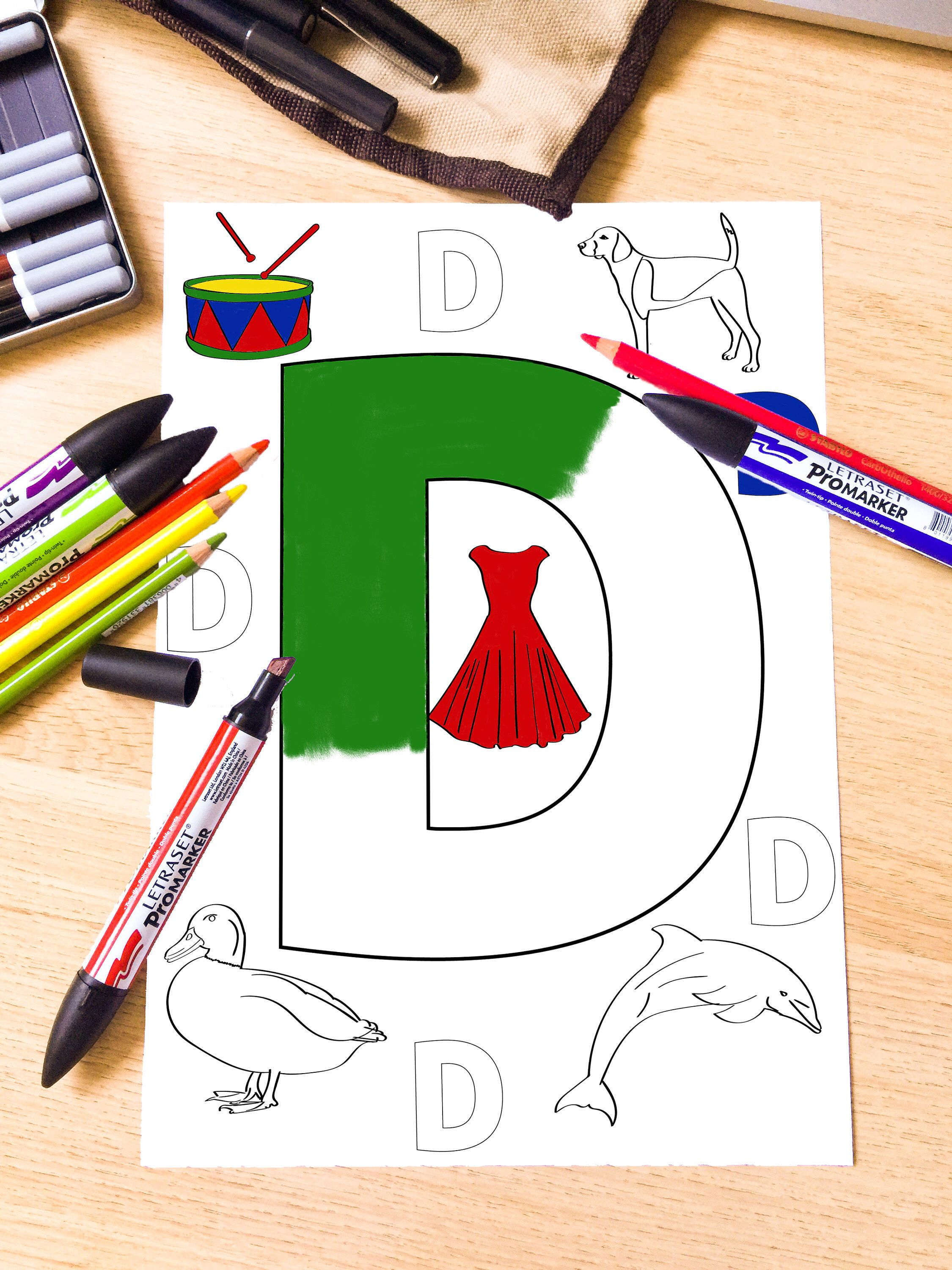 Letter D Coloring Page, Alphabet Coloring, Printable Coloring, Kids ...