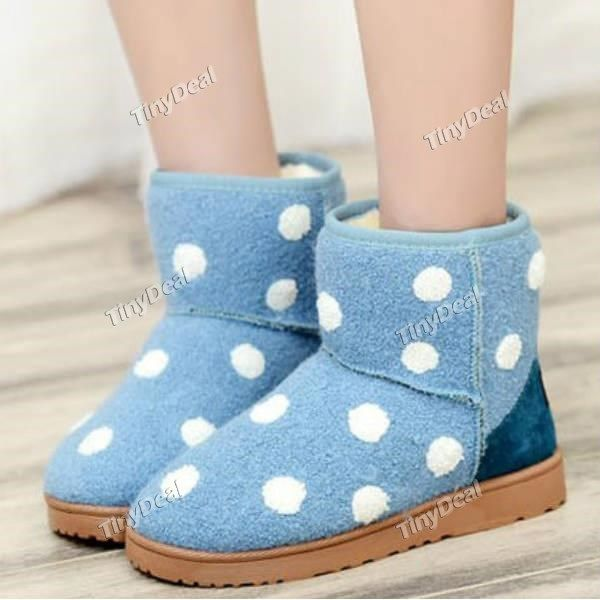 Winter Casual Warm Round Thick Crust Polka Dot Pattern Ankle Boots For Women's Shoes DSH-368566