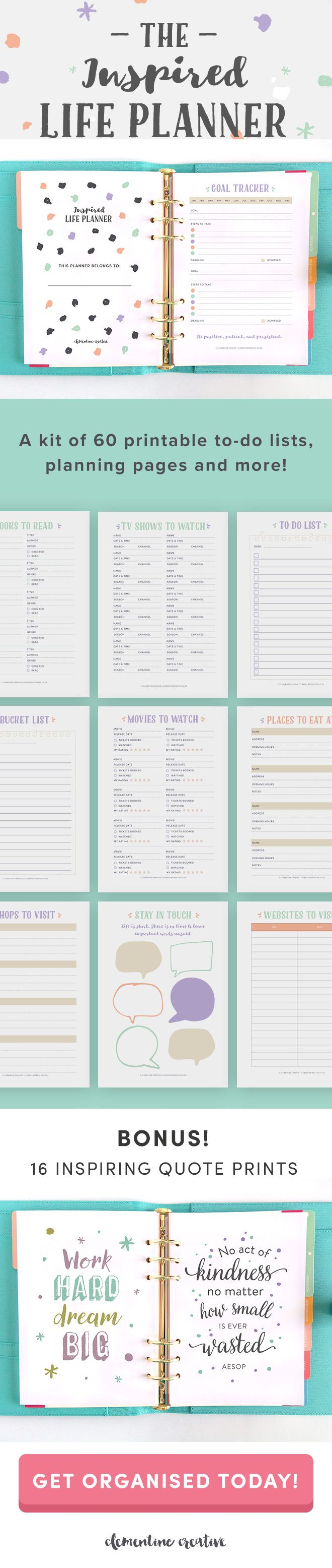 Need to get organised? Love making lists and planning your life on paper? The Inspired Life Planner is just what you need. It includes 60 printable planning pages to help you track your life, plan, and remember important things. It even includes 16 inspiring quote prints to help motivate you. Find out more here.