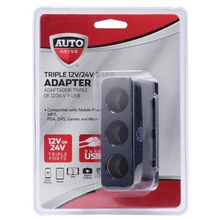Auto Drive Triple 12V/ 24V & USB Adapter, Black | Products