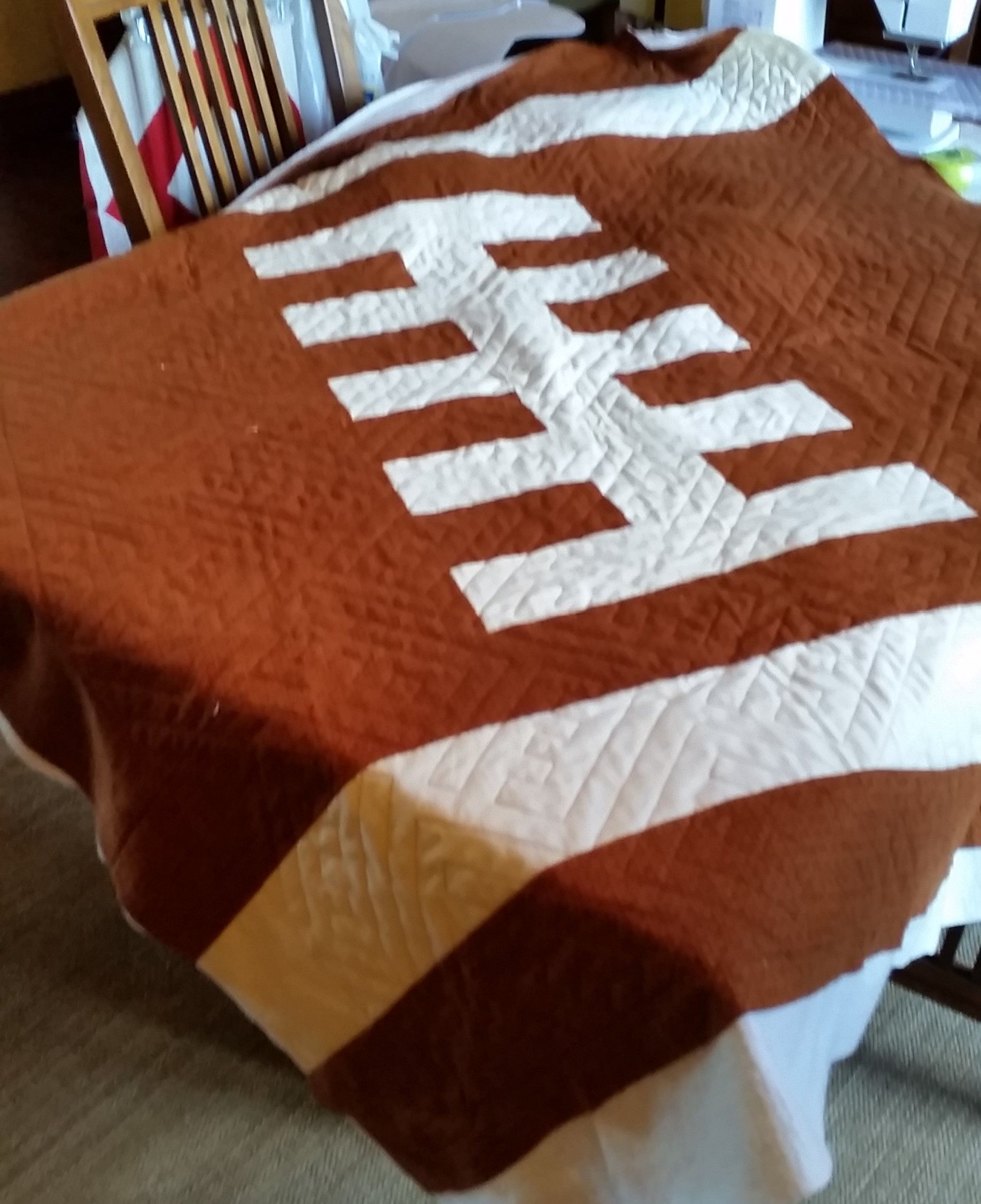 Abby\'s football quilt, woolies | My quilted projects | Pinterest