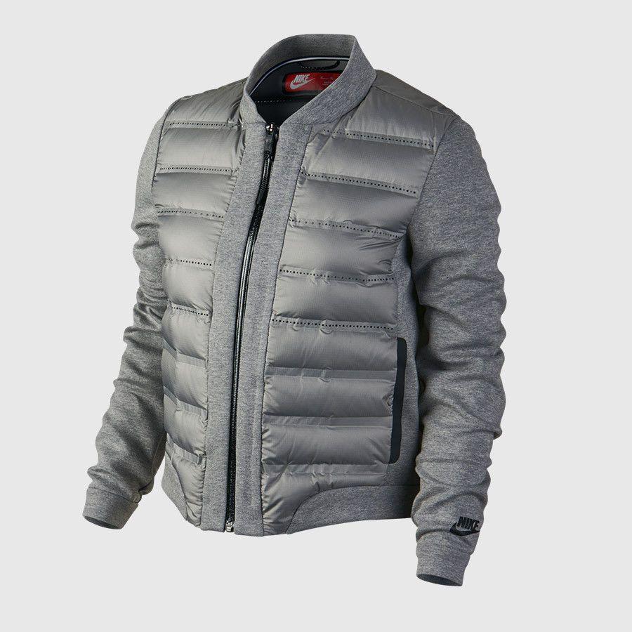Nike Women S Tech Aeroloft Bomber Jacket 708913 091 Heather Grey Size S Nike Jacket [ 900 x 900 Pixel ]