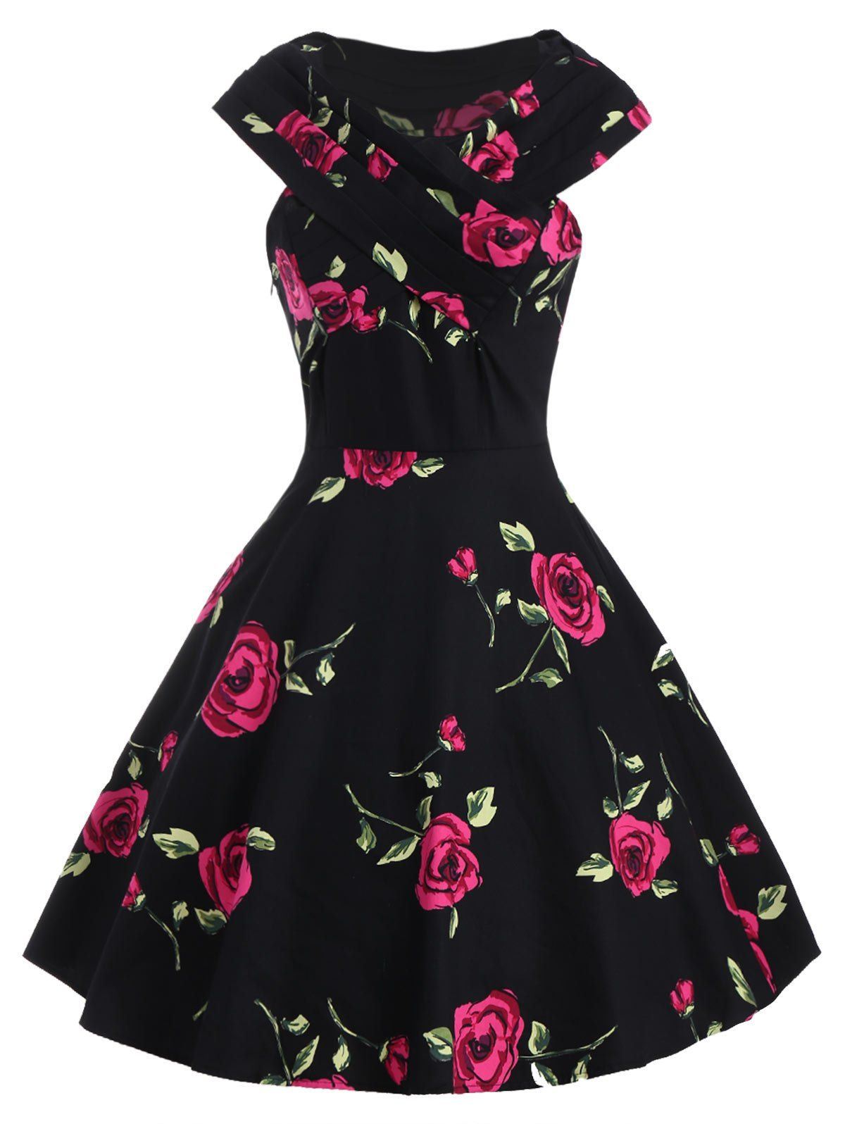 Retro style womenus vneck rose print short sleeve ball dress