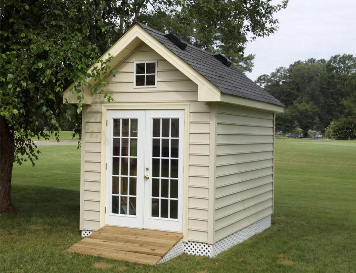 8x12 Shed With Vinyl Siding And Double French Doors With Full Glass And Accent Window Double French Doors Backyard Shed Deck Designs Backyard