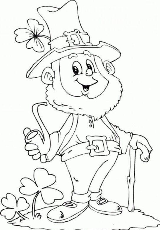 Saint Patricks Day Leprechaun Holding Pipe Coloring Page | Crafts ...