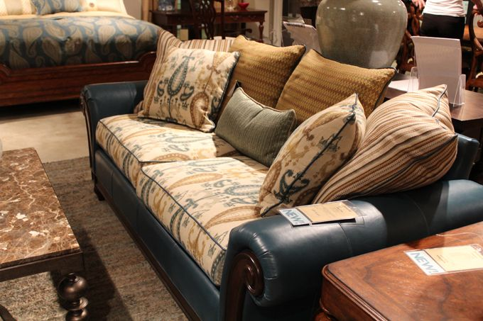 Material And Leather Sofa Canape Cover Thomasville Favorite Places Spaces Furniture Living Room Couch Mixing Fabric Daring But Would You Put This In Your House