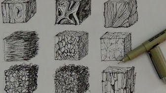 comment dessiner des textures bois pierre m tal terre tutoriel youtube hachures. Black Bedroom Furniture Sets. Home Design Ideas