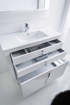 Photo of Roma bathroom vanity with extra storage. White. – contemporary – Bathroom …