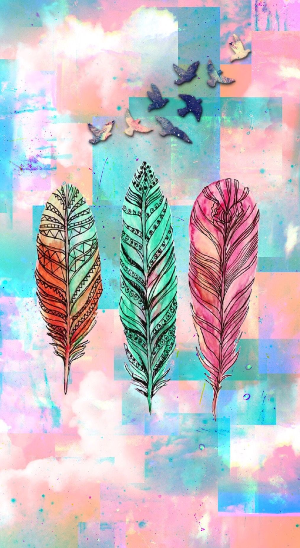 Feather Cute Girly By Me Feather Wallpaper Iphone Homescreen