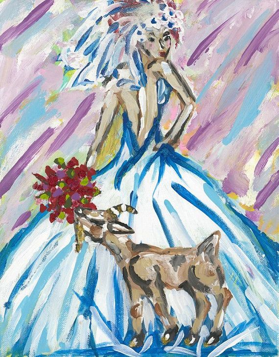 wedding wal art, goat wall art, goat lady wall art, country wedding ...