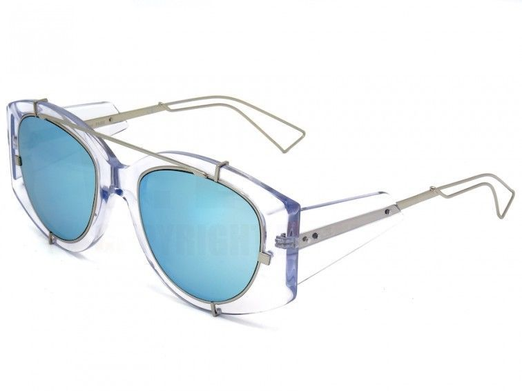 56e933f96f37e NEW Dior Experience Sunglasses Crystal frame blue mirror lenses Limted  Edition  ChristianDior  Round