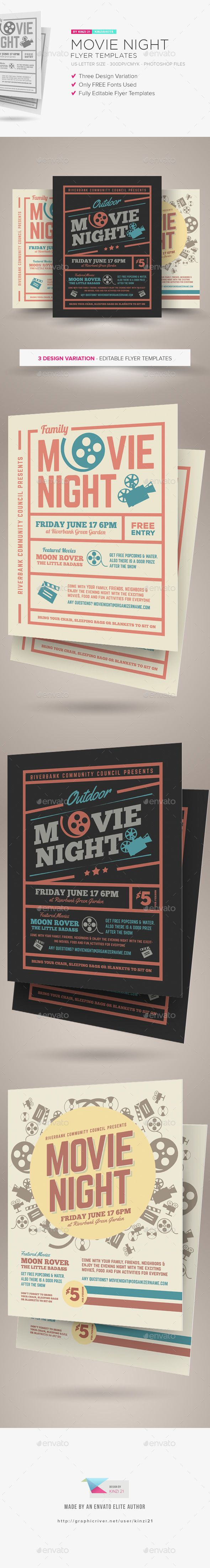 Movie Night Flyer Templates  Flyer Template Template And Event
