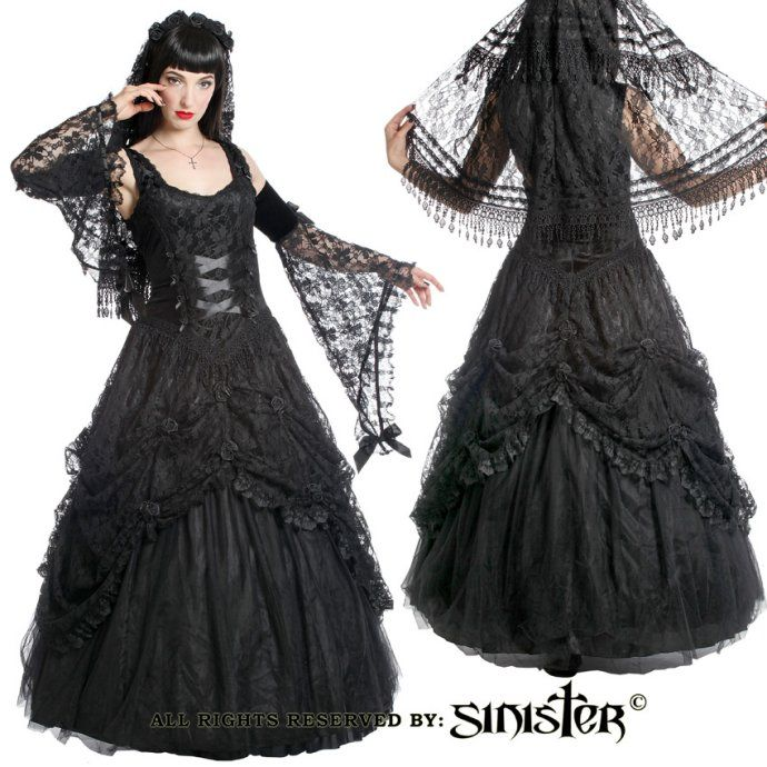 Holly Black Lace & Satin Gothic Prom Dress by Sinister | popierdółki ...