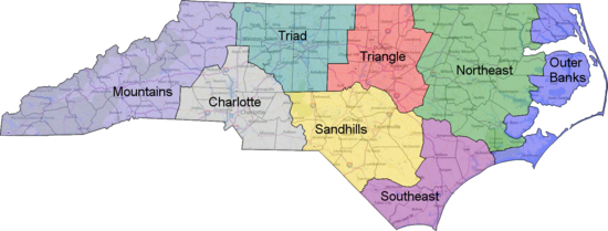North Carolina geographic regions | Political geography ...