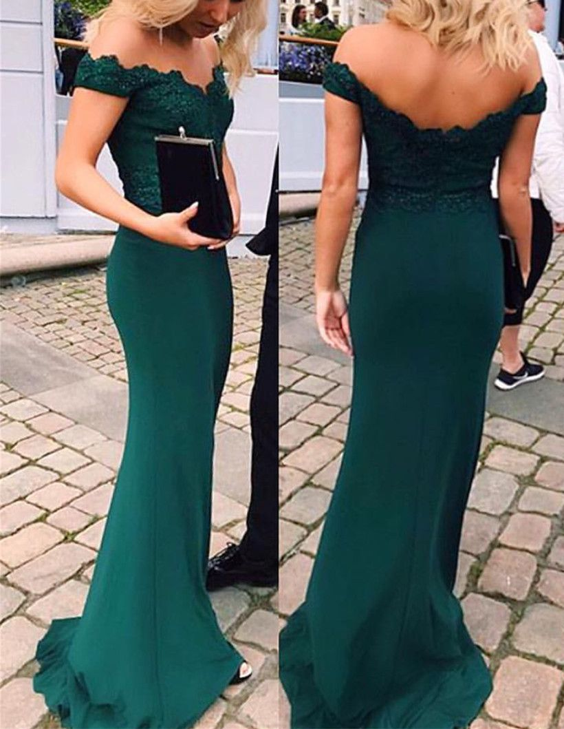 Off shoulder emerald green prom dresssexy party dresses mermaid