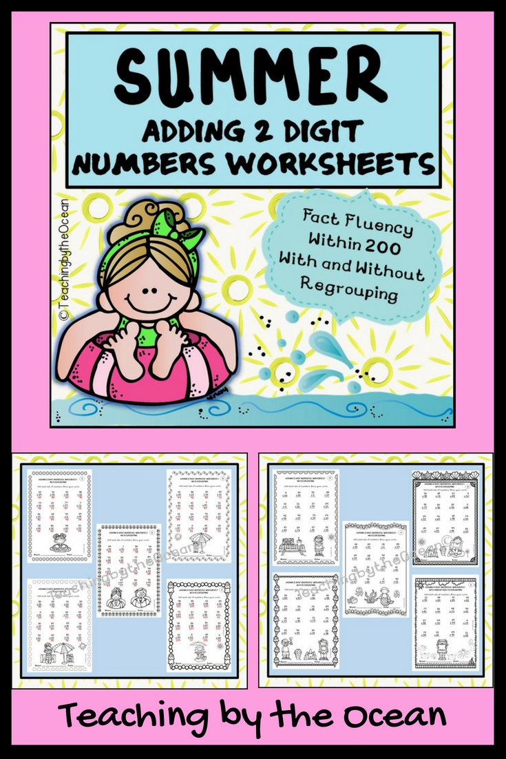 Adding Two Digit Numbers Worksheets - Summer Themed | Pinterest