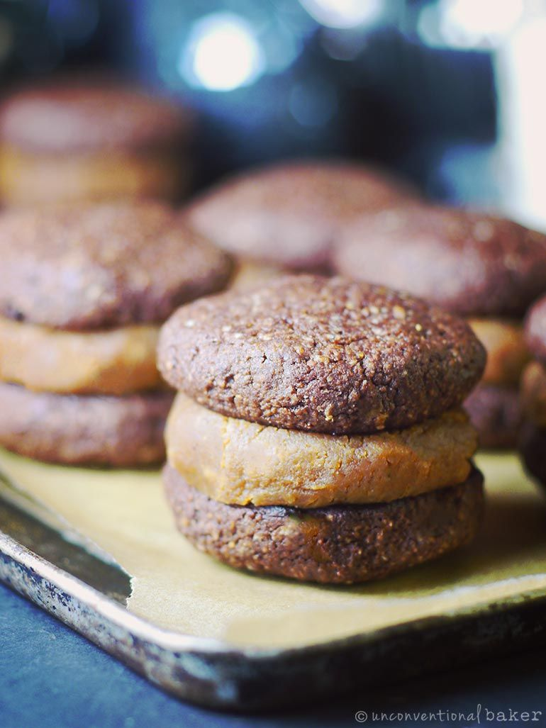 Chocolate Brownie Peanut Butter Sandwich Cookies Vegan Gluten