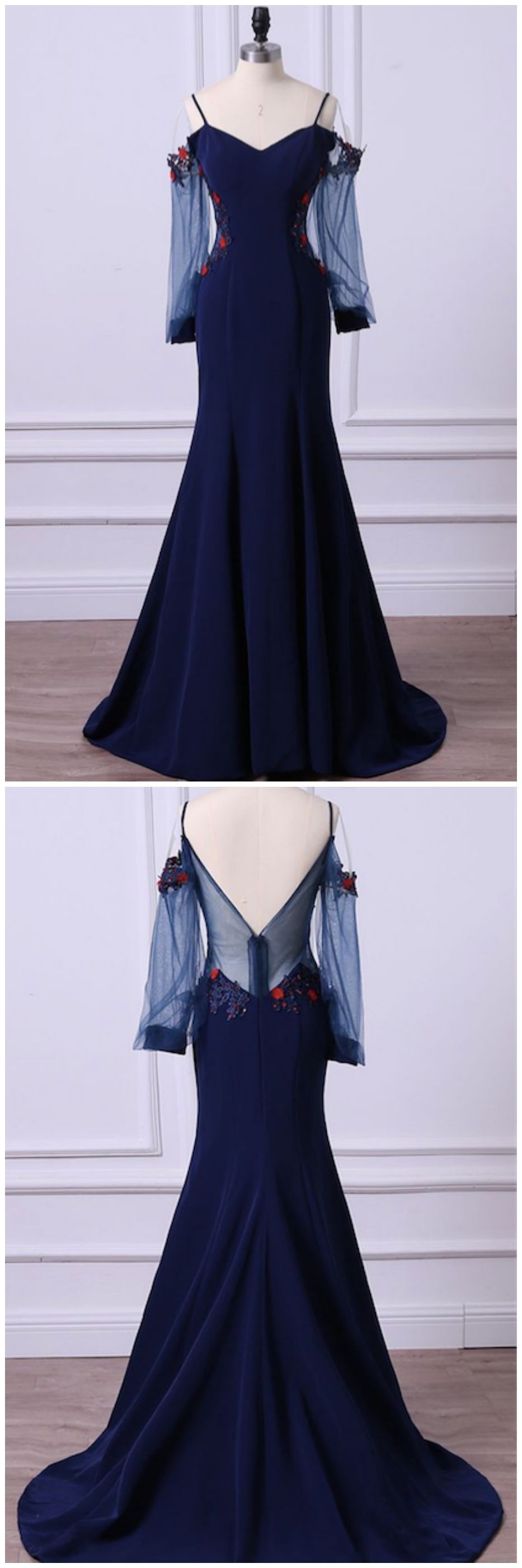 Navy blue mermaid long satin prom dresses with long sleeves ed