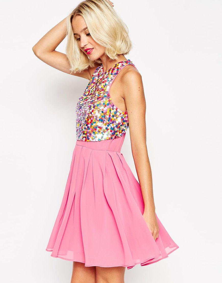 ASOS Dolly Sequin Droplet Crop Top Dress | moda | Pinterest
