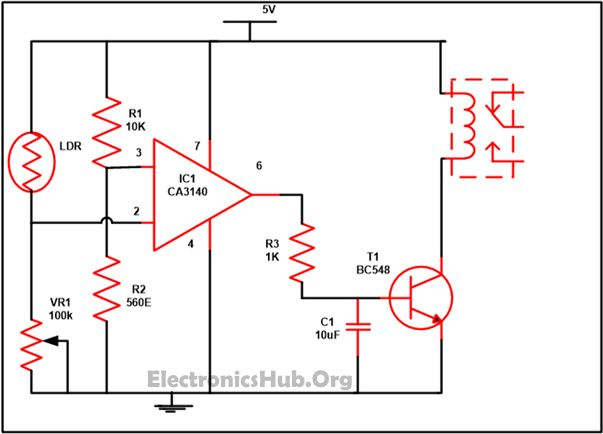 Automatic Street Light Controller Using Relays and LDR | Circuit ...