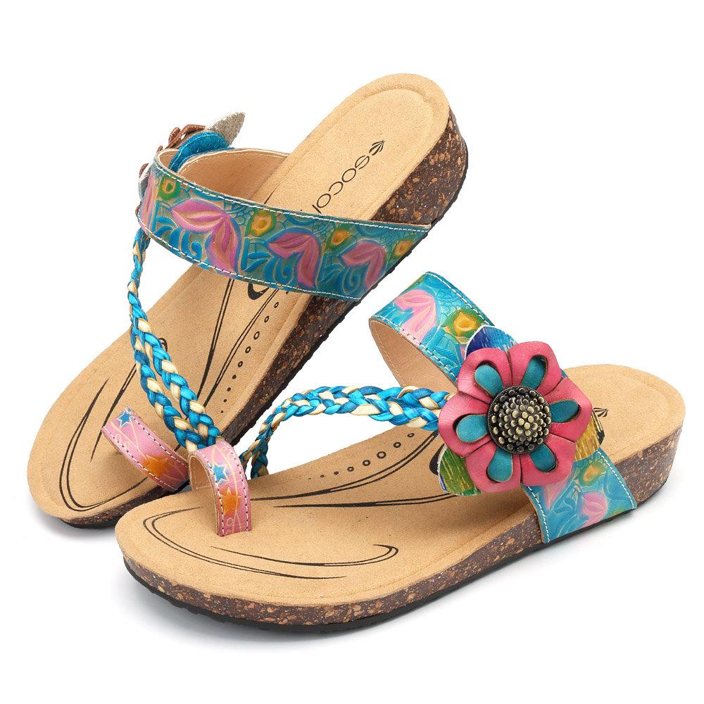 4c93fcc01ea SOCOFY Bohemian Genuine Leather Adjustable Hook Loop Comfortable Flat  Sandals