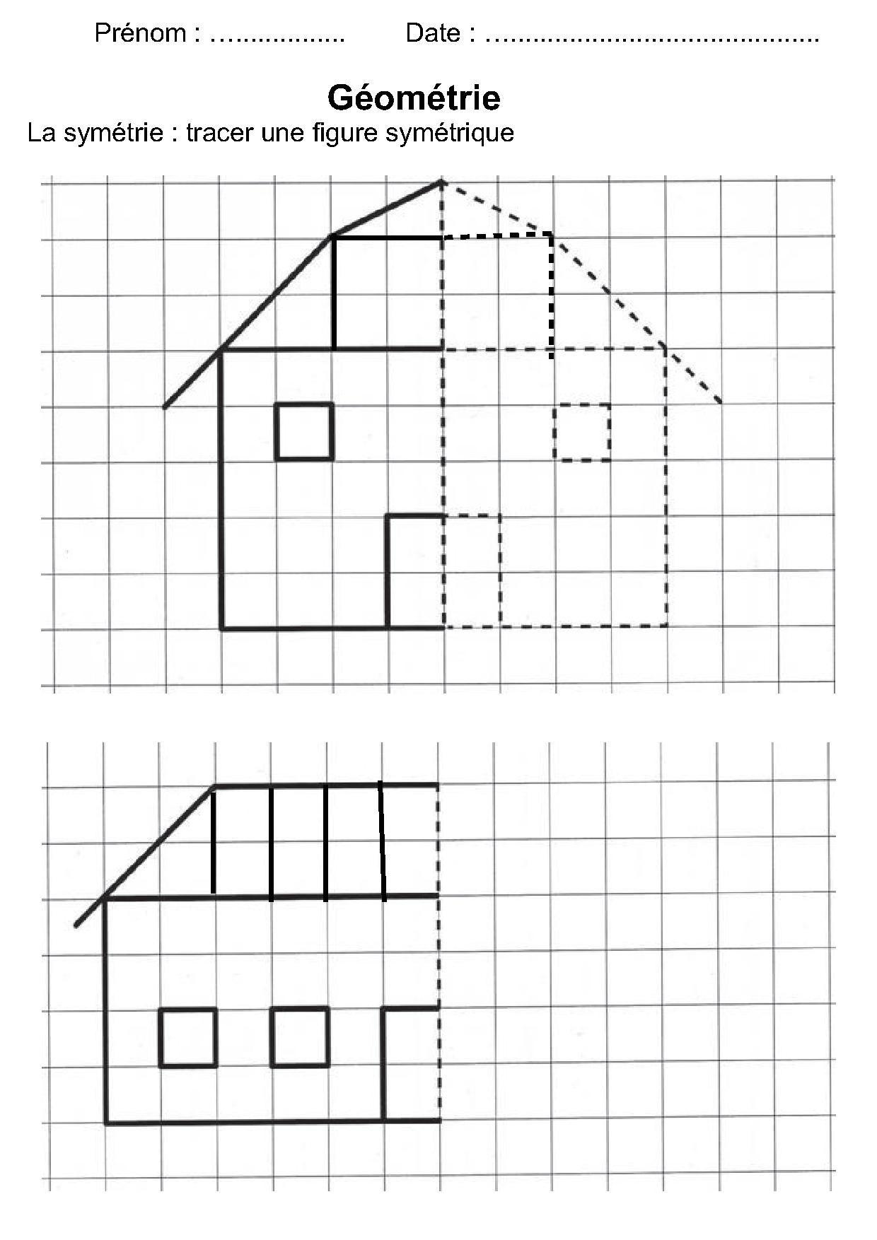 géométrie ce1,ce2,la symétrie,reproduire une figure ...
