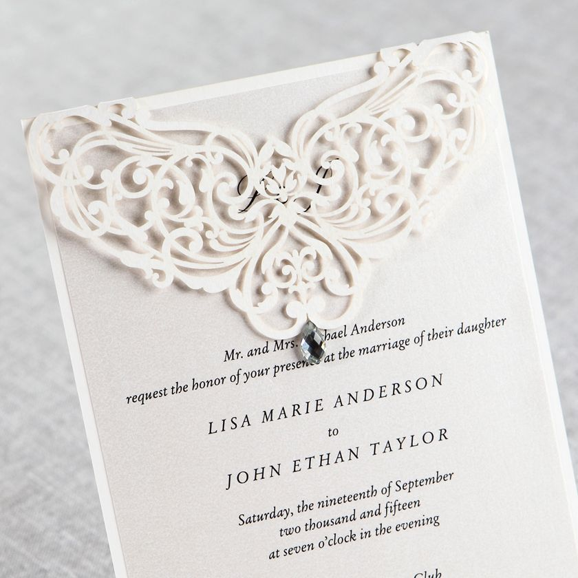 Jeweled Romance Laser Cut Wedding Invitations Party ideas