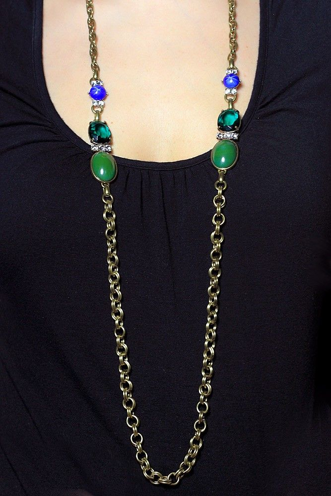 Charm & Chain | Green Stone Long Chain Necklace - Necklaces - Jewelry