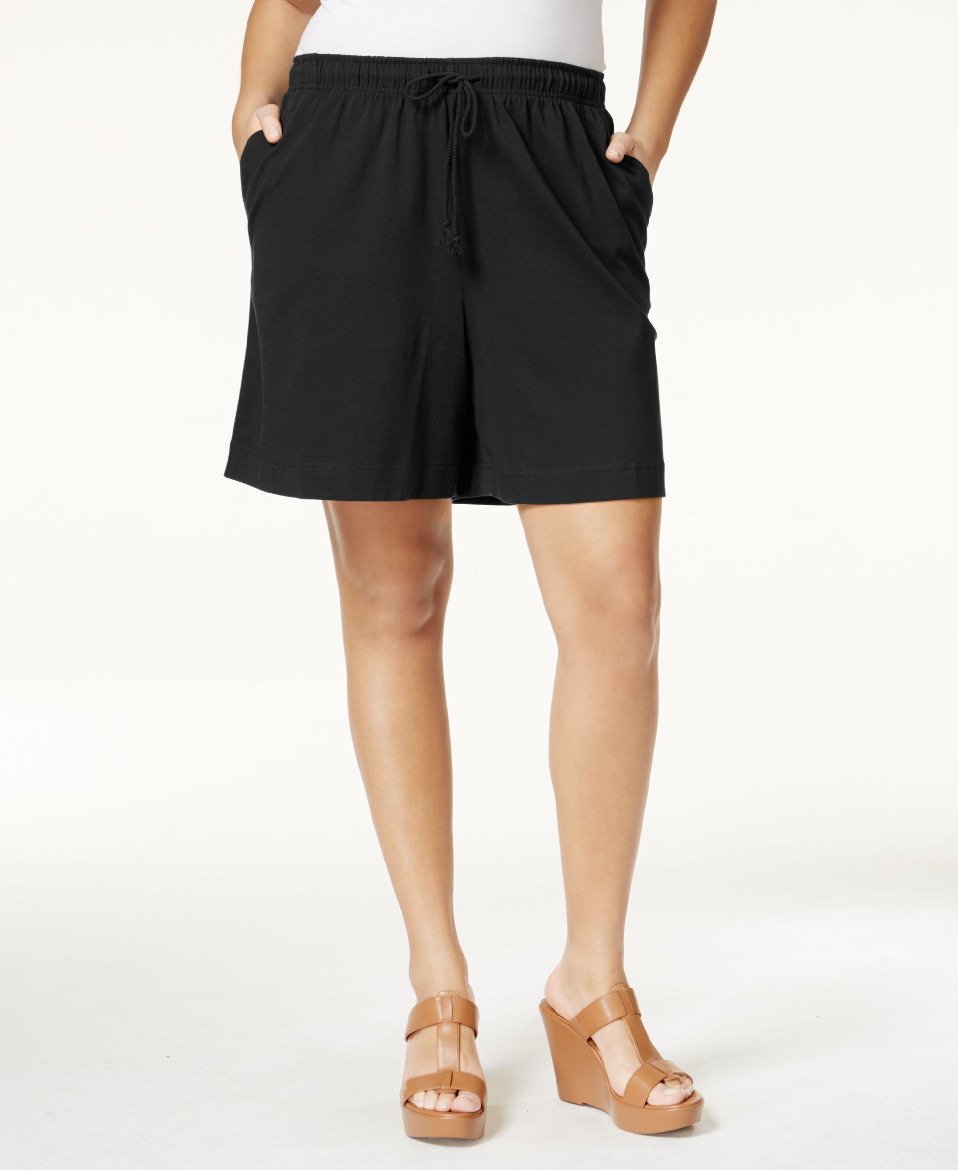 Karen Scott Plus Size Drawstring Knit Shorts, Only at Macy's