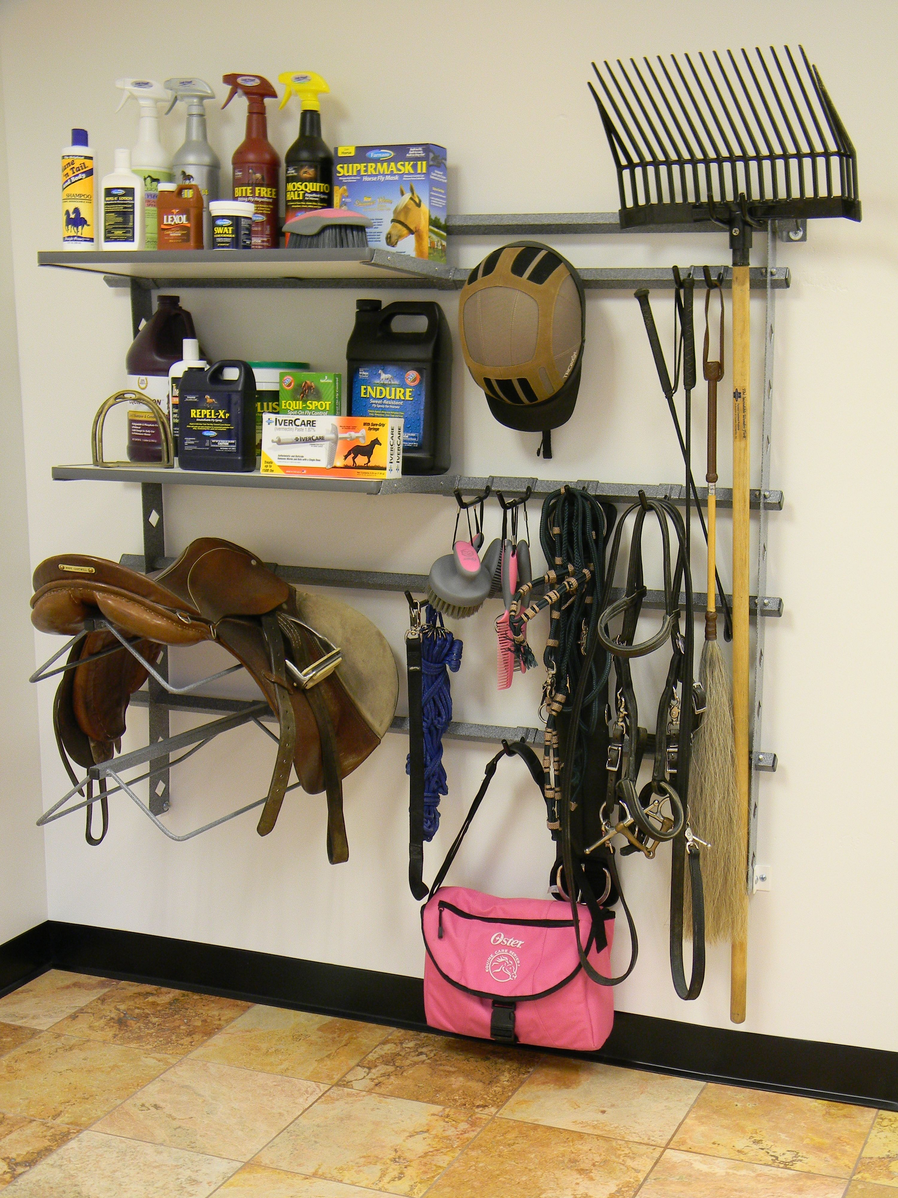 Such a great way to organize all the horse stuff, all in one spot. I love the specailized storage options that Monkey Bar Storage offers.