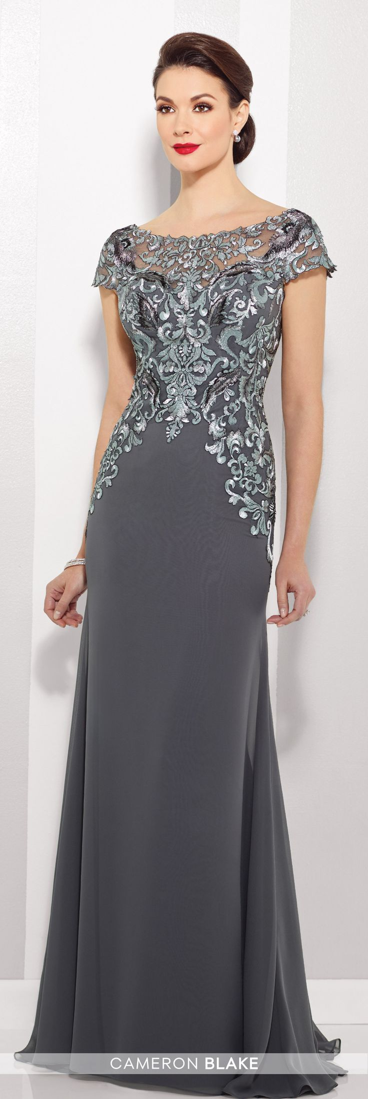 Chiffon A-line Gown With Illusion Cap Sleeves - Cameron Blake 216691