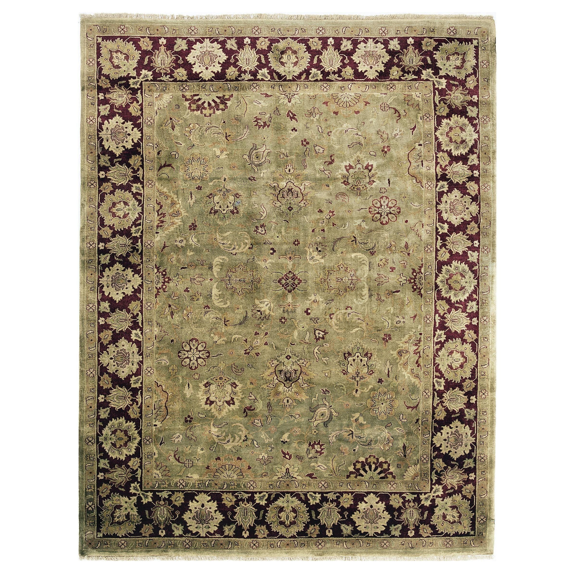 Exquisite Rugs Super Kashan Green Maroon New Zealand Wool Round Rug 10 X 10 Products Rugs Colorful Rugs Area Rugs