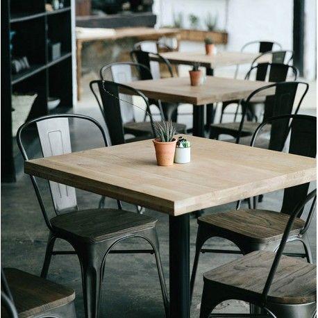 Mesa de restaurante en metal y madera roble rochester for Mesas de madera para restaurante