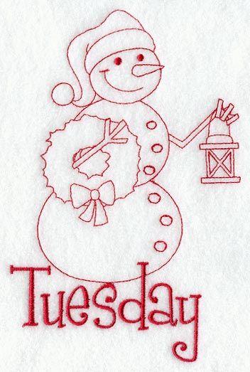Snowman - Tuesday (Redwork) | Embroidery | Pinterest | Schneemann ...