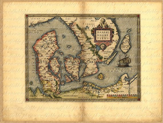 Map Of Denmark From The 1500s 093 Ancient Old World Copenhagen - new world map denmark copenhagen