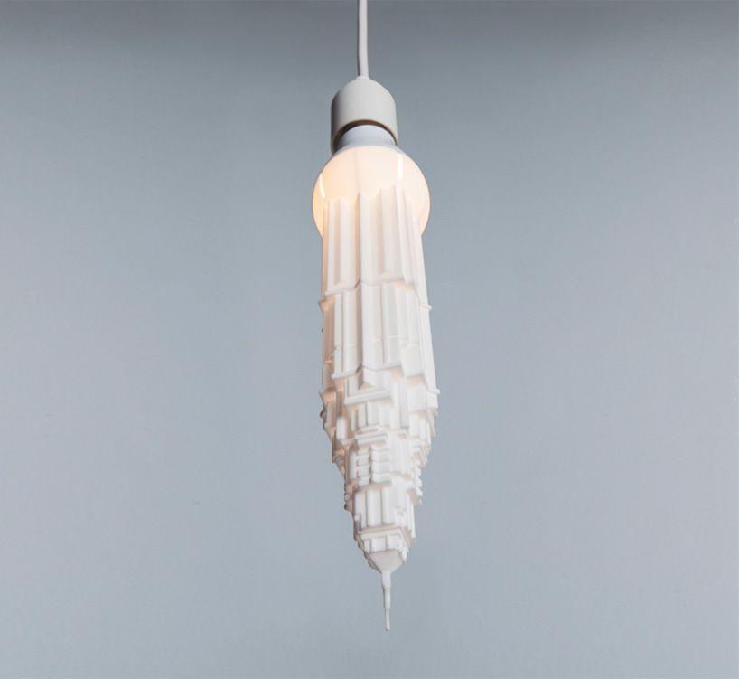 studio david graas' 3D printed bulbshades turn skyscrapers upside down