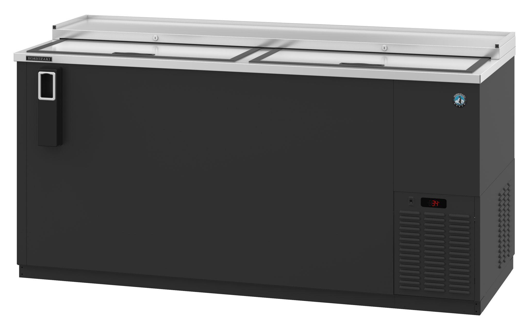 Hbc 65 Refrigerator Two Section Black Vinyl Back Bar Bottle Cooler Slide Top Doors Bottle Coolers Back Bar Vinyl Exterior