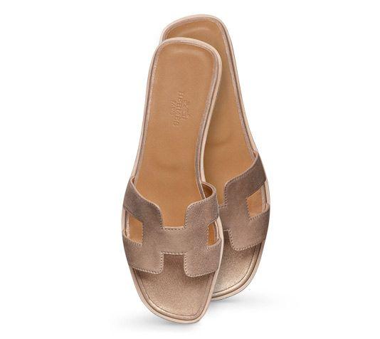 Oran Hermes ladies' sandal in champagne laminated suede