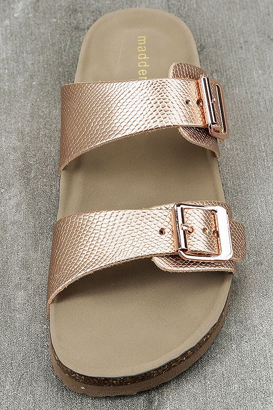 6d41d1c2c048 Make a stylish statement with the Madden Girl Brando-P Rose Gold Buckled  Slide Sandals! Snakeskin embossed metallic rose gold vegan leather forms  two straps ...