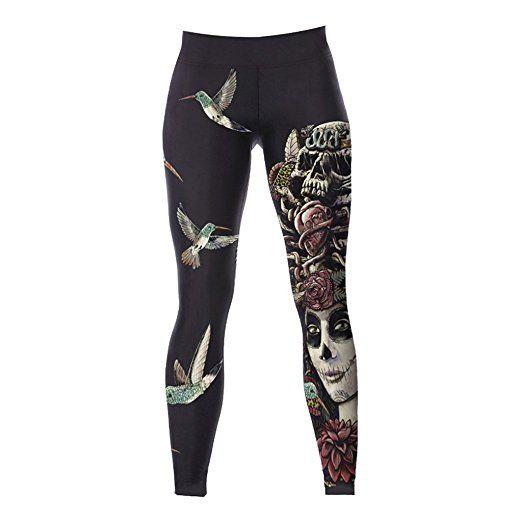 Damen Sport Leggings - Schädel Königin - Mode-Design, mit ...