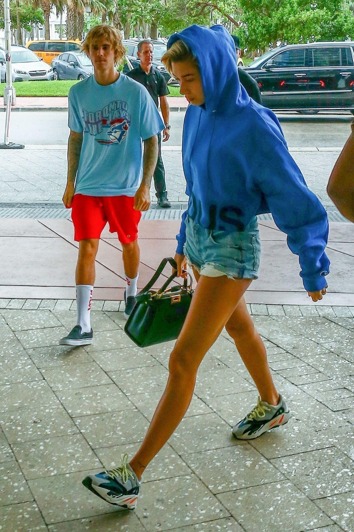 Hailey Baldwin wearing Adidas Yeezy 700