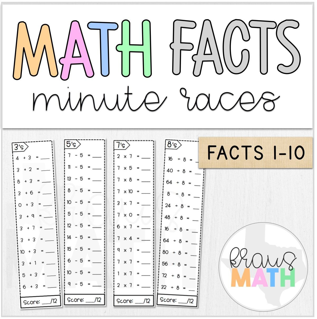 Math Fact Fluency Minute Races Bundle Facts 0 10